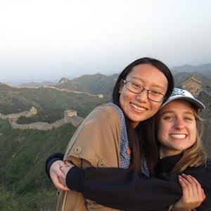 student and roommate on Great Wall