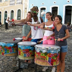 students and local drummer in Brazil